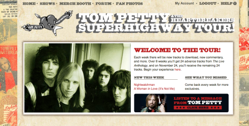 Just took a screen shot of my welcome page after I logged into the Tom Petty & the Heartbreakers Superhighway Tour (Image (c) Donna Talarico)