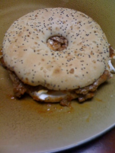 Bagel sandwich with cheeseteak